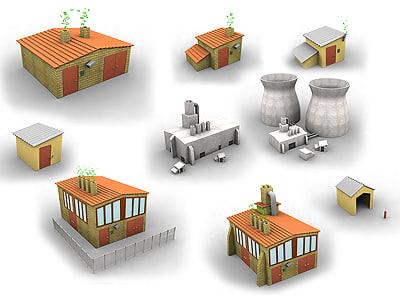 3d buildings set small