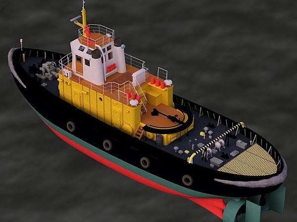 3d model tugboat