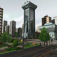 3d model modular city buildings