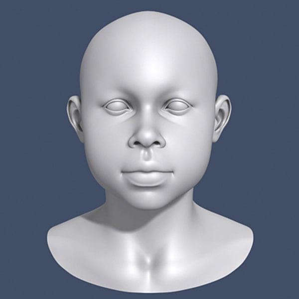 3ds max polygonal african boy head