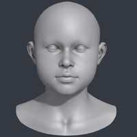 Little Girl Head 3d Model