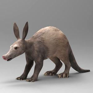 aardvark orycteropus 3d model