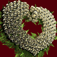 3d heart roses wreath