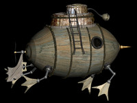3ds max old wood submarine