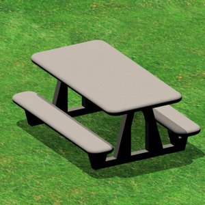 picnic table 3d 3ds