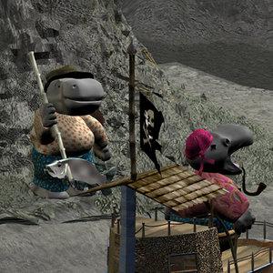 3d adventure hippos maps model