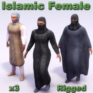 3d arab female rigged model