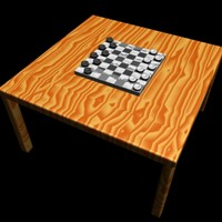 Checkers Board w/ Wood Table