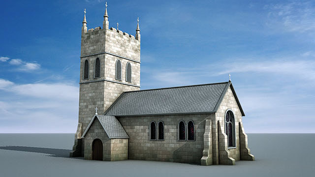 3d stone church model