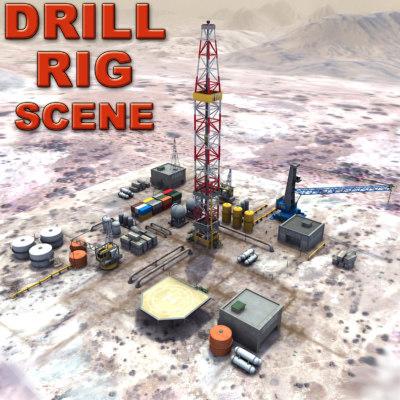 3ds oil gas drilling desert terrain