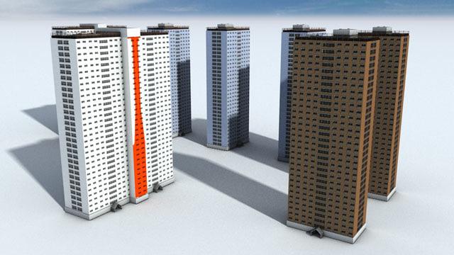 3d model red road flats blocks