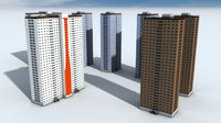 3d model red road flats blocks