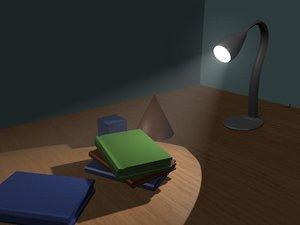 3d model table lamp books