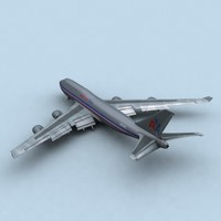 747-400 american airlines 3d model