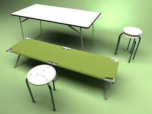 folding bed table chair 3d obj