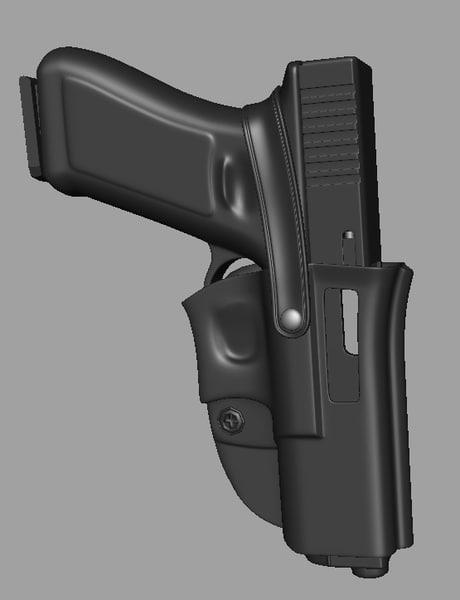 glock handgun holster 3d max