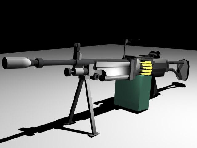 3d model ksp90 support machine gun