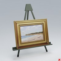 3d easel painting model