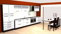 3d modern kitchen modular