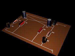 3d model basic electronics set resistors