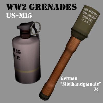stielhandgranate grenade 3d 3ds