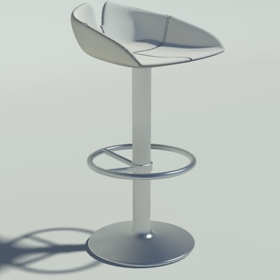 3d 3ds fjord stool circle white