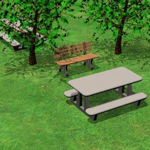 picnic table park bench 3ds