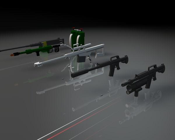 3d weapons m16 rifle machine gun model