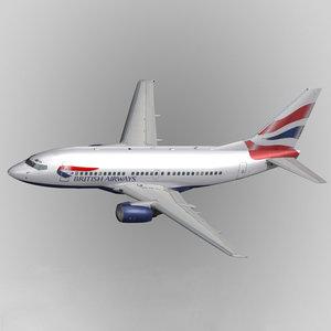 b737-500 british airways 3d model