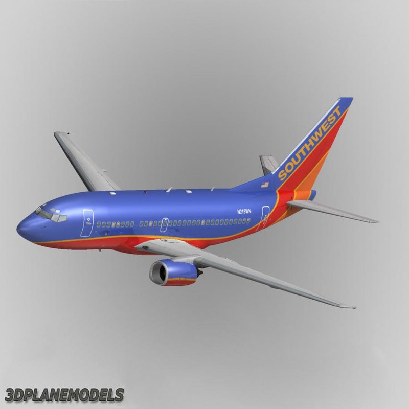 b737-500 southwest airlines 3d model
