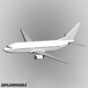 b737-400 generic white 3d model