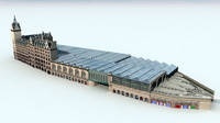 glasgow central station train 3d model