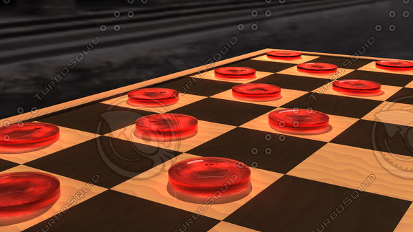 3d red checker piece model