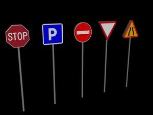 3d model 5 panneaux signalisation