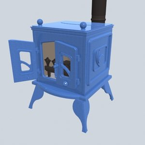 3d model classically woodburning stove