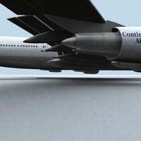 747-400 continental 3d model