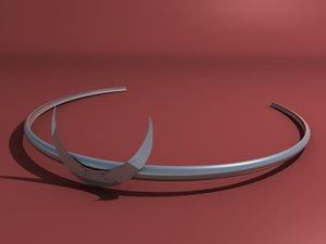silver headband crescent 3d obj