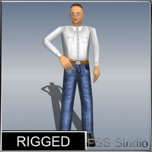 3d male human rigged