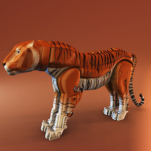 3d obj steel cat tiger