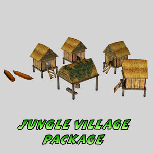 small hut jungle package 3d 3ds