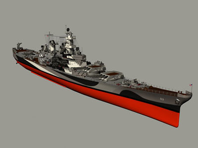 3d uss missouri bb-63 model