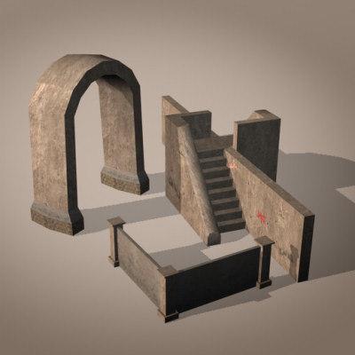 3d urban elements package east model