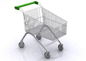 3d supermarket shopping trolley