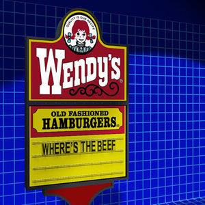 3d wendy sign 01 restaurant