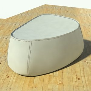 fjord medium pouf stone 3d model