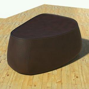 fjord pouf stone brown 3d model