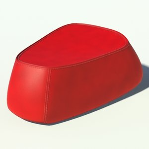 3d model of fjord big pouf red