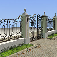 Iron gate 02 (fence kit+street lamp)
