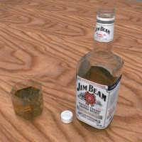 jim beam bottle glass 3d model