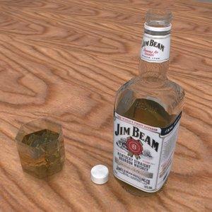 jim beam bottle glass 3d model